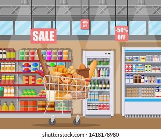 Bread products in shopping cart supermarket interior. Whole grain, wheat and rye bread, toast, pretzel, ciabatta, croissant, bagel, french baguette, cinnamon bun. Flat vector illustration