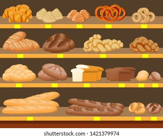 Bread products in shopping mall supermarket interior. Whole grain, wheat and rye bread, toast, pretzel, ciabatta, croissant, bagel, french baguette, cinnamon bun. Flat vector illustration