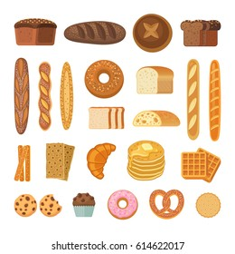 Bread and rolls collection. Vector illustration of  bakery products icons - bread, baguette, pretzel, ciabatta, croissant, cupcake, waffles and cookies. Isolated on white.