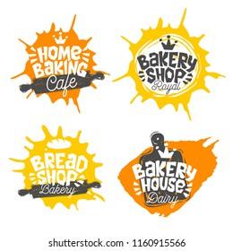 Bread shop, bakery, bakehouse home baking lettering logo label emblem design. The best recipe, chef hat, crown, whisk. Hand drawn vector illustration.