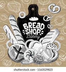 Bread shop market, logo design, healthy food shop. Bakery, bread, baguette, bagel, bun, loaf, bakery products, bread, baking. Good nutrition. Hand drawn vector illustration.