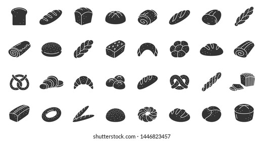 Bread silhouette icons set. Fresh baking symbol, simple shape pictogram collection. Bakery design element. Toast, loaf, baguette, bun flat black sign Isolated on white icon concept vector illustration