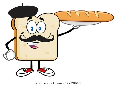 Bread Slice Cartoon Character With Baret And Mustache Presenting Perfect French Bread Baguette. Vector Illustration Isolated On White Background