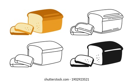 Bread sliced bakery icon set, line and black glyph style. Hand drawn sketch fresh wheat bread symbol. Shop flat food design. Icon for infographic, packaging label, vector for food app website, bistro