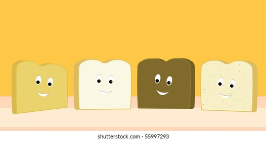 Bread slices happy together - vector