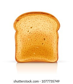 Bread toast for sandwich piece of roasted crouton. Lunch, dinner, breakfast snack. Isolated white background. EPS10 vector illustration.