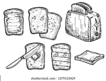 Bread toasts, toasts with butter and peanut paste, toaster sketch set. Bread toasts for sandwich piece of roasted crouton. Lunch, dinner, breakfast snack. Isolated white background.
