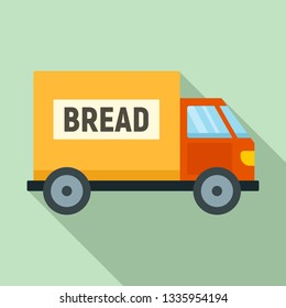 Bread truck delivery icon. Flat illustration of bread truck delivery vector icon for web design