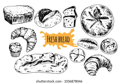 Bread vector hand drawn set illustration. Other types of wheat, flour fresh bread. Gluten food bakery engraved collection. Black bake organic food isolated on white background.