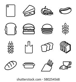 bread vector icons. Set of 16 bread outline icons such as wheat, burger, hot dog, sandwich, coffee and croissant, sandwich and apple, chopping board and knife, chopping board