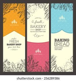 Bread vertical vintage banners. Vector illustration
