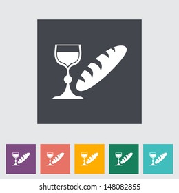 Bread and wine single flat icon. Vector illustration.