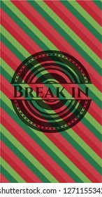 Break in christmas colors style emblem.