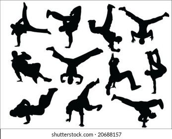 break dance silhouette collection vector
