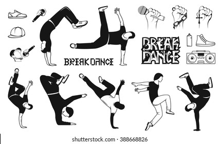 Break Dance silhouettes man and outfit. Set of Breakdance Bboy Silhouettes in Different Poses. Up, Down, On a Floor, On a Head, Jump, Twist, Rotate.