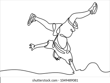 break dancer-continuous line drawing