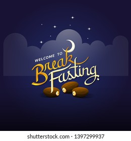 Break fasting with calligraphy style on dark blue backgroud with cloud moon stars and date palm meaning is welcome to break fasting