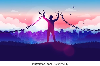 Break free from the chains - Man on hilltop braking the chains with sunrise and city in background. Freedom, liberation, hope and justice concept in vector illustration.