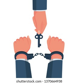 Break free. Prisoner release. Freedom concept. Man in handcuffs. Key is in the hands of freedom. Vector illustration flat design. Isolated on white background. Unlocking handcuffs. End of arrest.