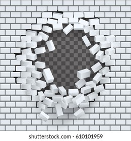 Break hole brick wall destruction template transparent background vector illustration