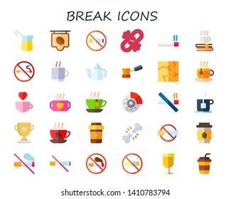 break icon set. 30 flat break icons.  Collection Of - coffee, no smoking, broken link, smoking, coffee cup, teapot, crack, tea cup, cup, brake, tea, broken bone, no smoke,