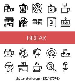 break icon set. Collection of Coffee cup, Cafe, Coffee maker, Coffee shop, Break, Cup carrier, mug, bag, Gangsta, Moka pot, Cup, Barista icons