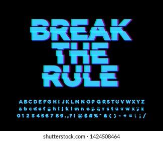 Break the rule sticker font effect, glitch allhabet style, break alphabet design