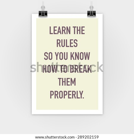 Break Rules Inspirational Motivating Quotes On Stock Vector Royalty