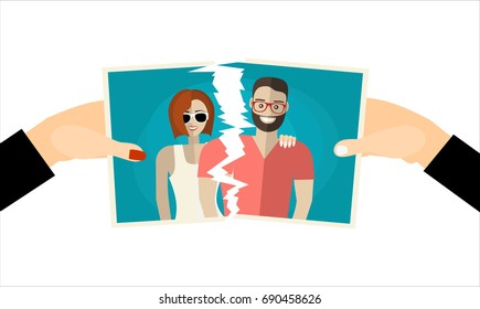 Break up. Crisis relationship divorce. Man and woman tear a group photo as symbol conflict, unhappy love. Vector illustration flat design. Parting couple.