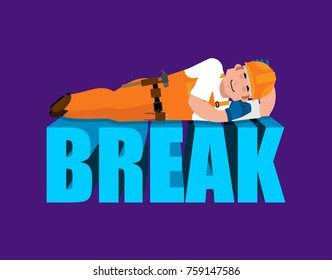 Break in working time. Builder sleeping isolated. Job Time out. Worker in protective helmet asleep. Vector illustration.
