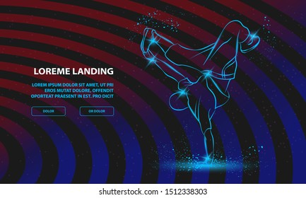 Breakdancer dancing and making a frieze on one hand. Vector Breakdance Background for Landing Page Template.