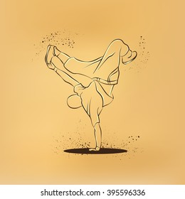 Breakdancer dancing and making a frieze on one hand. Vector retro drawing illustration.