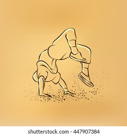 Breakdancer doing a back flip. The man is dancing hip hop style. Bboy vector retro drawing illustration on the retro background.
