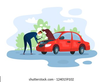 Breakdown of the car. The businessman is trying to fix his vehicle. Isolated vector illustration of a broken red car on the road.