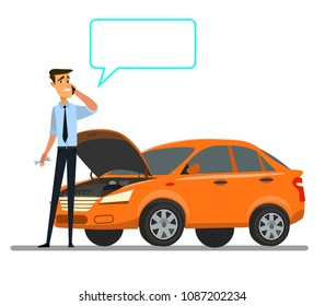 Breakdown of the car on the road. Vector illustration in flat style.