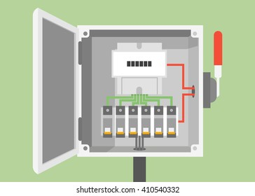 Breakers switch vector flat, fuse vector, electric box, circuit breakers, electrical panel, switch with wires, electric meter in box