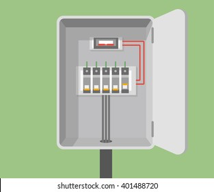 Breakers vector flat, Circuit breakers, electrical panel, switch with wires