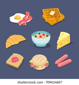 Breakfadt related food colorful flat illustrated icons with fried eggs, bacon, waffles, croissant, muesli, cheese, toast, jelly, sandwich, sausages.