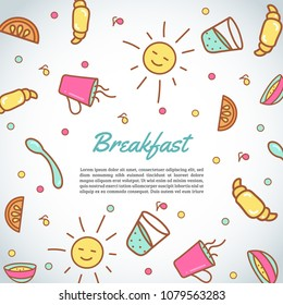 Breakfast background. Morning time background. Cafe, bakery concept. Coffeee and tea vector