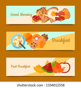 Breakfast brunch concept set of banners vector illustration. Healthy start day. Eating in the morning. Good morning. Fruit breakfast. Food collection with apple, sandwich and fried eggs.