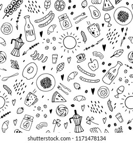 Breakfast and brunch seamless pattern. Hand drawn vector black and white illustration. Cartoon doodle. Background, wallpaper. Colouring page. Web, print, fabric texture.