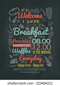 Breakfast cafe Menu Design typography on chalk board vector illustration