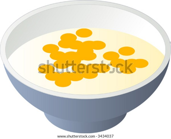 Breakfast cereal with milk in a bowl, isometric illustration