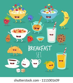 Breakfast, coffee, milk, cookies, croissants, granola, corn flakes, oatmeal, banana, orange juice, berries, honey funny breakfast set. Comic characters. Vector illustrations.