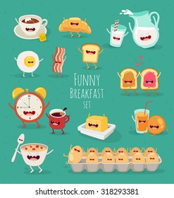 Breakfast, coffee time, tea, milk, toast, orange, eggs, batter, croissant, batter.  Comic characters. Vector illustrations. Use in the menu, in the shop, in the bar, the card or stickers.