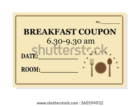 Breakfast Coupon Template Hotel Isolated On Stock Vector (Royalty ...