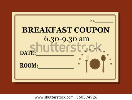breakfast coupon template hotel vector stock vector royalty free
