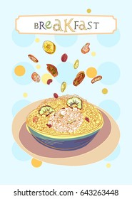 Breakfast cover with oatmeal and dehydrated fruits in engraved style. Fully editable vector illustration. Figured table with breakfast lettering.