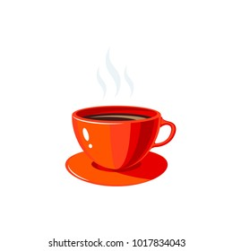 Breakfast, delicious start to the day. Red cup with hot coffee. Vector illustration cartoon flat icon isolated on white.