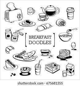 Breakfast Doodles.Hand drawing styles for Breakfast meal.
